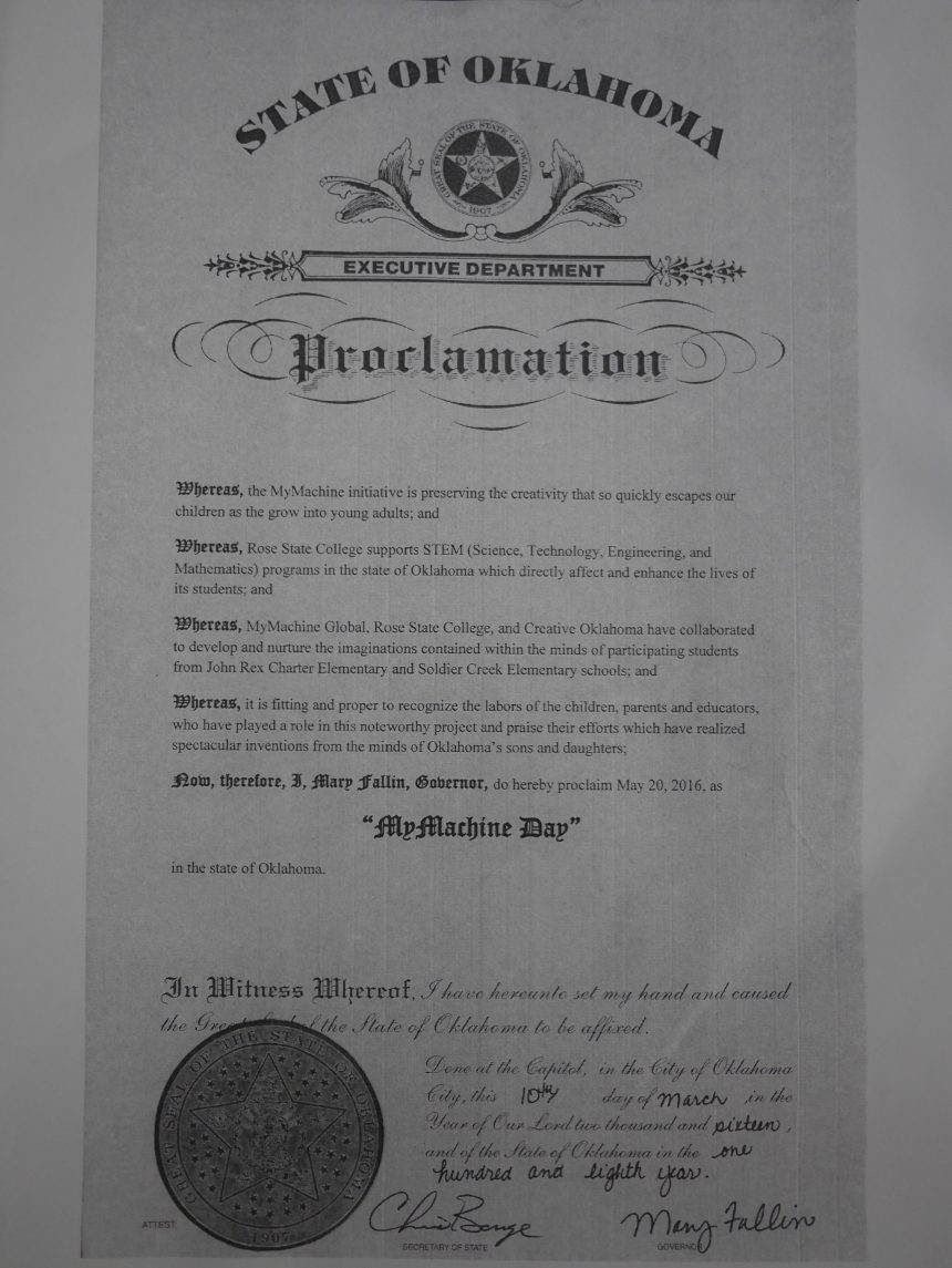 Governor Fallin proclaimed May 20, 2016 as MyMachine Day in the State of Oklahoma!