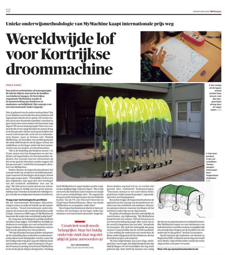 MyMachine in Belgian Newspaper