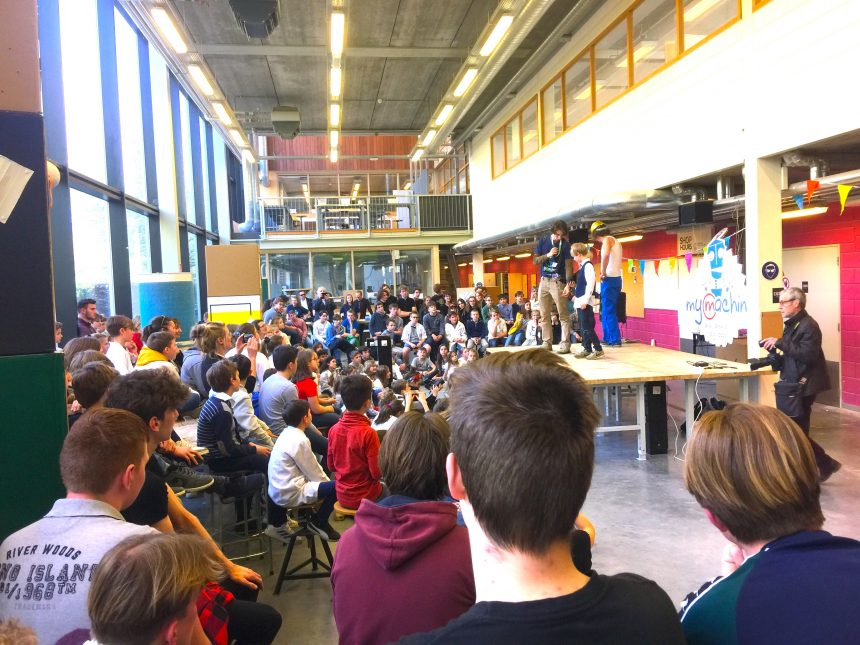Primary, Secondary and Higher Education students and teachers at the second MyMachine Belgium Work-In-Progress event kicking off the production phase of the dream machines